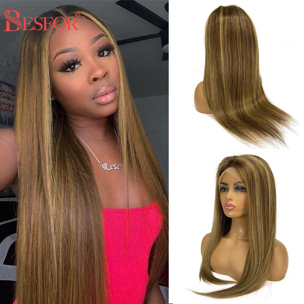 BESFOR Ombre 13x6 Lace Front Human Hair Wig Highlight Long Straight Lace Front Wigs Pre Plucked Cheap Glueless For Black Women