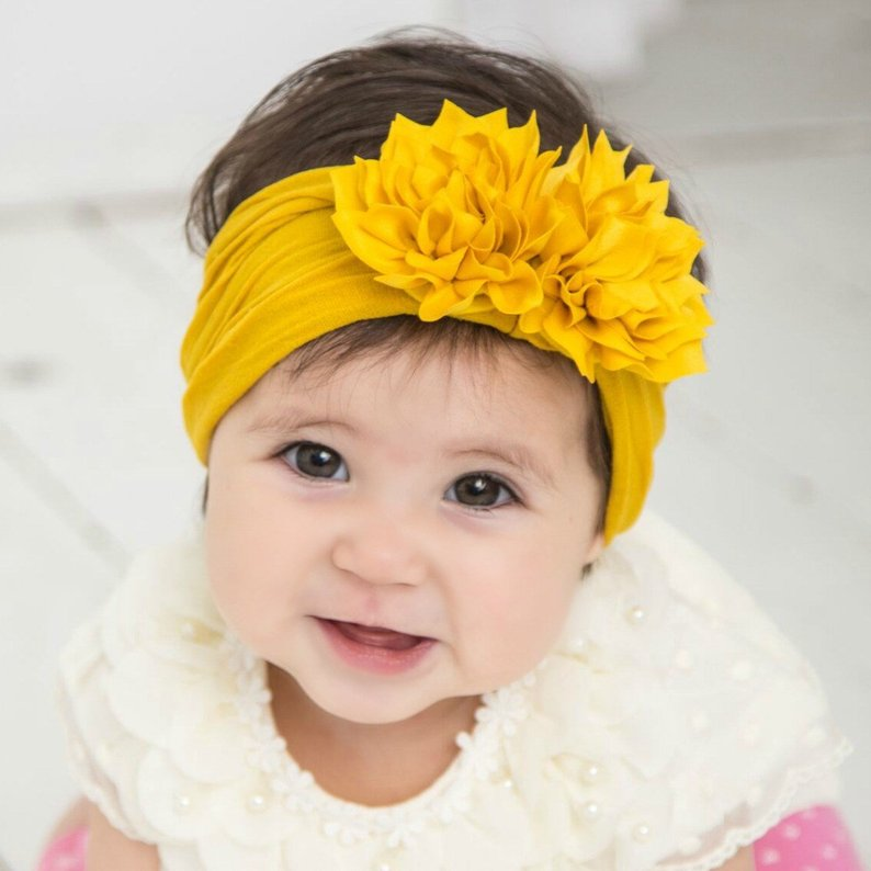 Cute 1PCS Baby Girls Lotus Flower Nylon Headband Knot Elastic Newborn Toddler Turban Headwraps Kids Hair Accessories Gifts