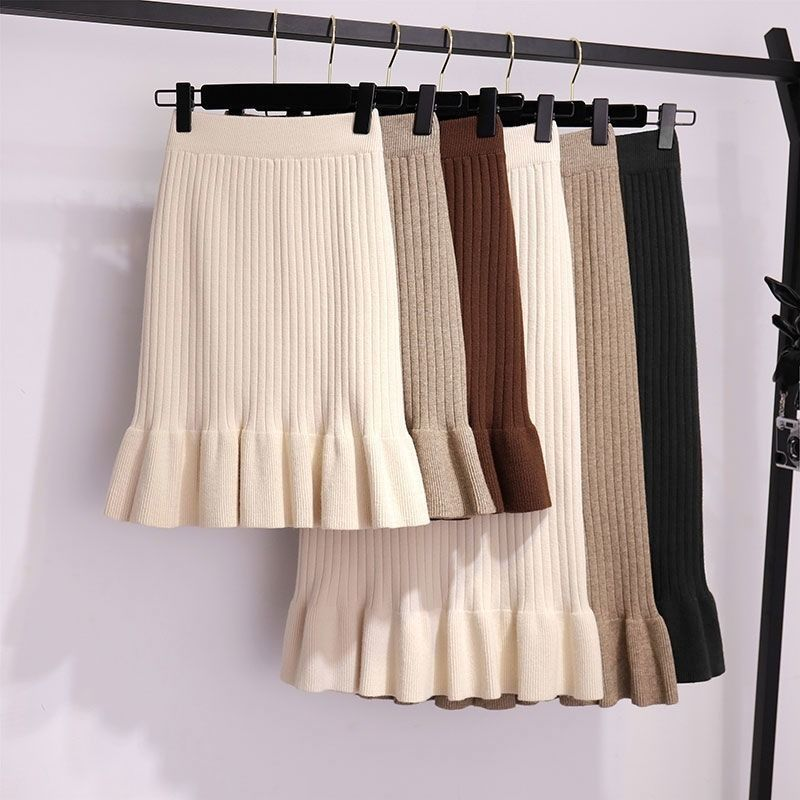 Women Long Sweater Skirt Spring Autumn Female Ruffle Midi Pleated Skirts Maxi Knitted High Waist Warm Elegant Saias Jupe Femme