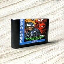 Venom oyun örümcek erkek ayırma anksiyete EUR etiket Flashkit MD kart forSega Genesis Megadrive Video oyunu konsolu
