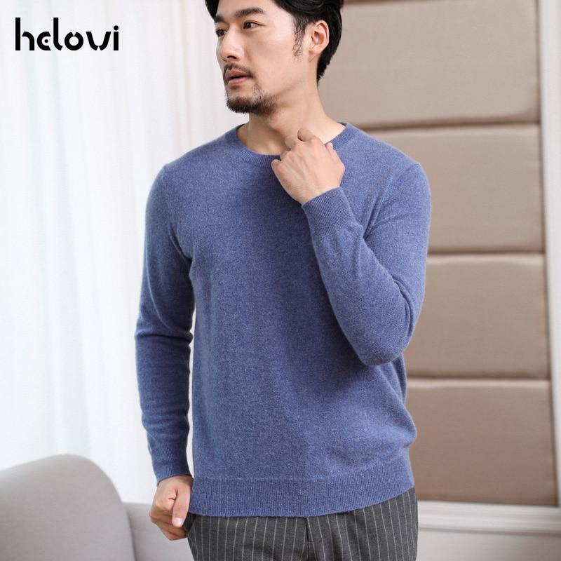 Helovi Big Men Sweater Winter Men'S   Sweater 100% Cashmere  Knit Oversize Loose Pullover Sweater Large Size Solid Color