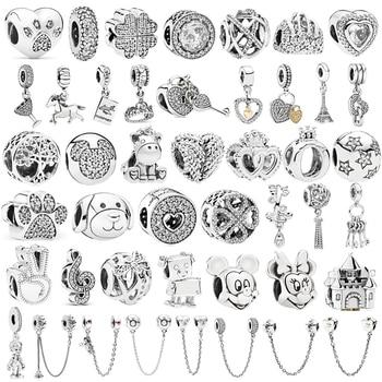 цена на Silver Color Minnie Mickey Safety chain Crown Boy Pendant Fit Pandora Charms Bracelets DIY Women New Original Beads Jewelry