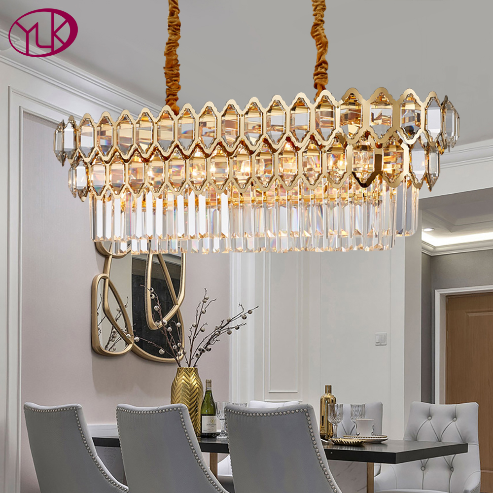 Luxury Modern Chandelier Lighting For Dining Room Rectangle Gold Crystal Lamps Large Kitchen Island LED Cristal Light Fixtures