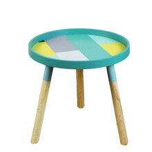Скандинавский современный минималистичный Деревянный Журнальный Столик Круглый Чайный столик для гостиной креативный журнальный столик из цельного дерева мини-диван-столик