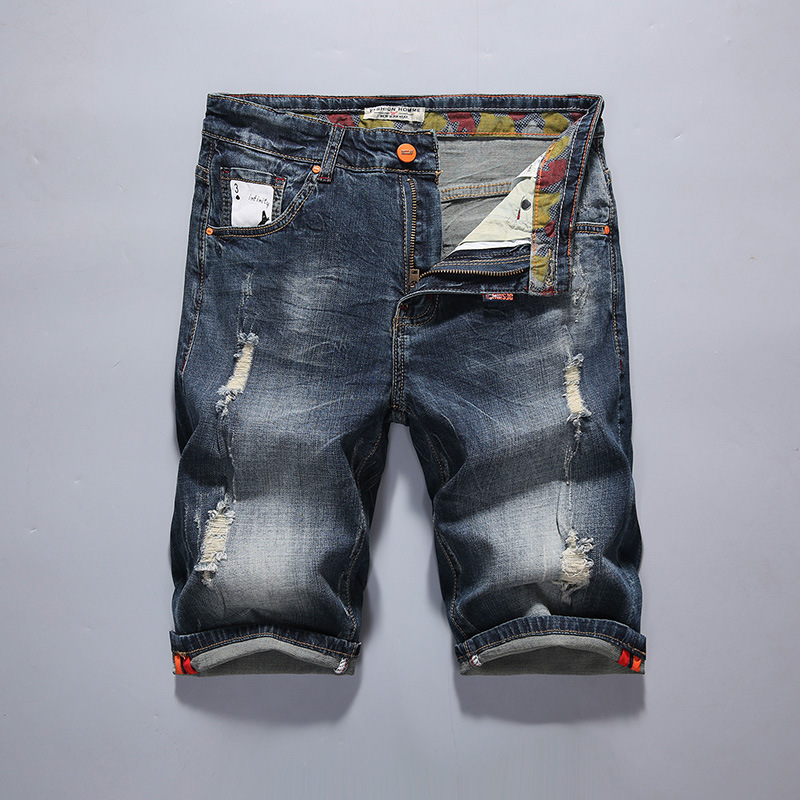 2018 With Holes Denim Shorts Summer Thin Section BOY'S Shorts Men Elasticity Cowboy Casual 5 Pants Breeches