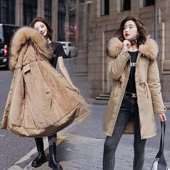 Hiver femmes polaire à l'intérieur parkas grande taille épais chaud mi-long à capuche parkas vestes fourrure à l'intérieur femme mince rembourrage parkas 1
