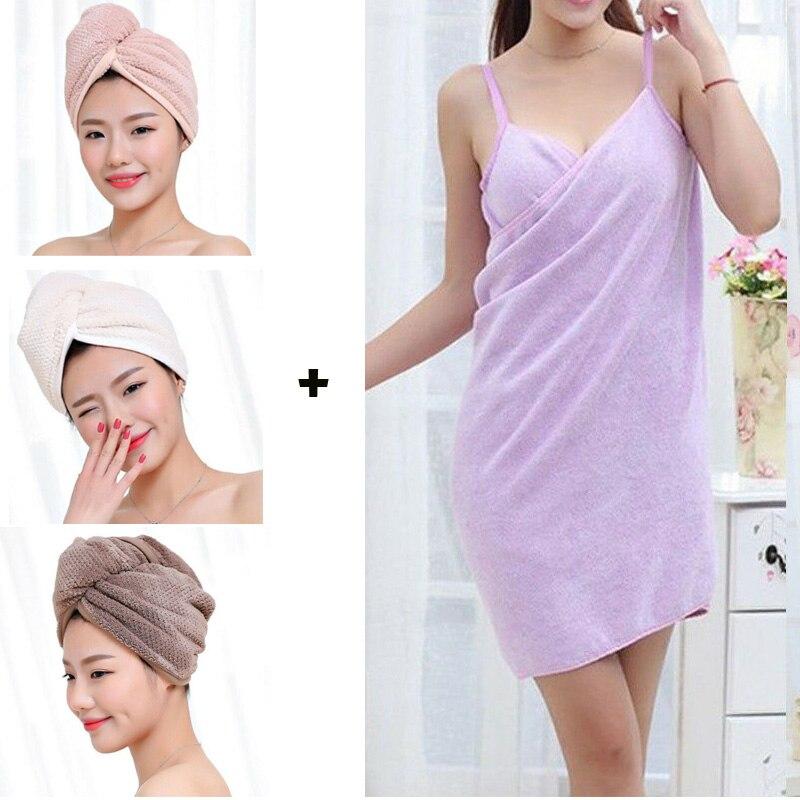 Комплект из 2 предметов, банное полотенце для волос, быстросохнущее полотенце для волос и женские халаты, банное полотенце, платье, Бразилия, Франция, ePacket
