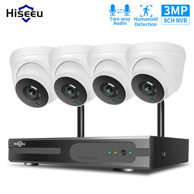 Hiseeu 1536P 1080P HD Two-way Audio CCTV Security Camera System Kit 3MP 8CH NVR Kit Indoor Home Wireless Wifi Video Surveillance