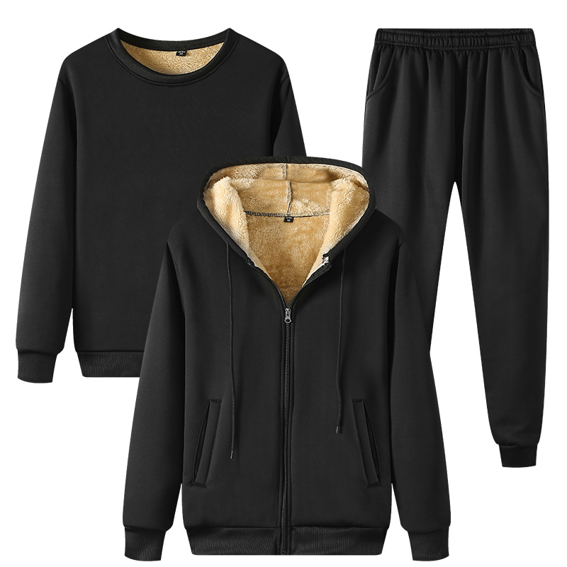Winter Thick Warm Fleece Men's Tracksuit Sets 3 Piece Hooded Jacket+Sweatshirt+Pants Casual Male Set Sportswear Sweat Suits