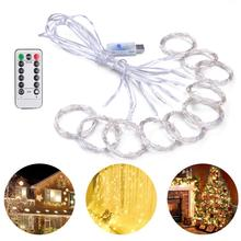 USB Remote Control 8 Modes LED Curtain Fairy Strings Lights Xmas birthday party wedding home bedroom garden curtain Decoration