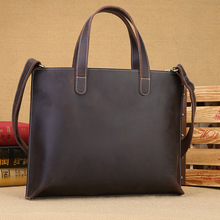 Genuine Leather Briefcase Portable Vintage High Capacity Laptop Business Side Office Briefcase Bolso Hombre Bag for Men DB60BA