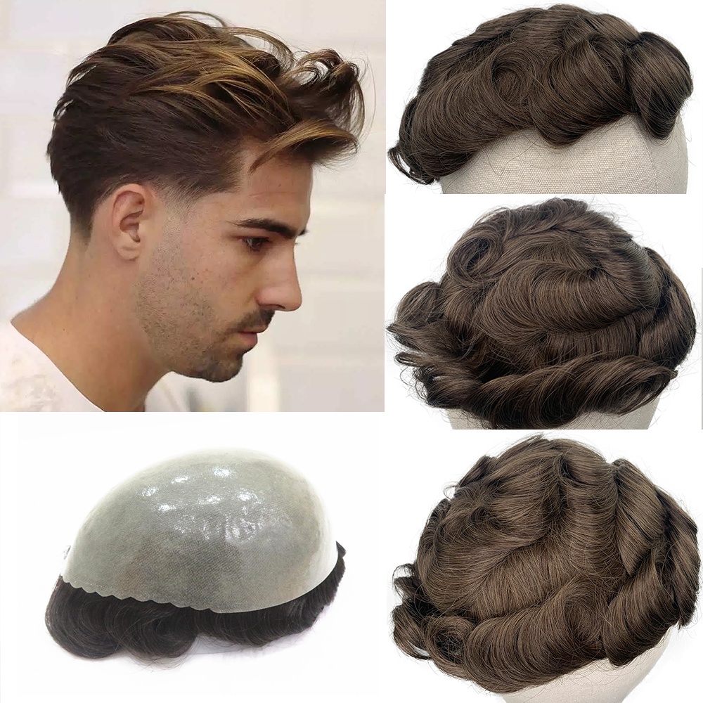 YY Wigs Men Toupee Skin PU Malaysian Remy Human Hair Replacement System #4R Brown Color Human Hair Toupee For Men Wig 8x10 Hair