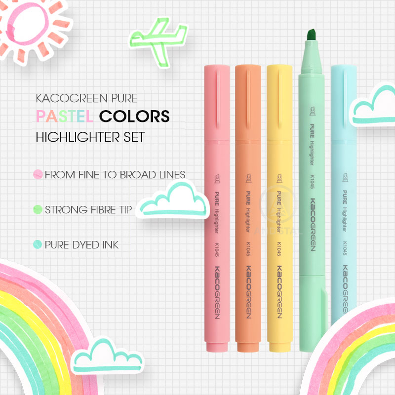 Andstal KACO 5 Colors/lot  Macaroon Pastel Colors Highlighter Pen Set Color For School Marker Stationery For School Office Mark