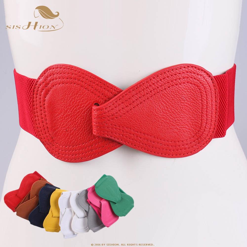 SISHION 2019 Fashion Red Elastic Waistband Wide Belt Ladies Black Elastic Bow Waistbands For Women SP0361