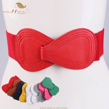 SISHION 2019 Fashion Red elastic waistband wide belt ladies black elastic bow wa