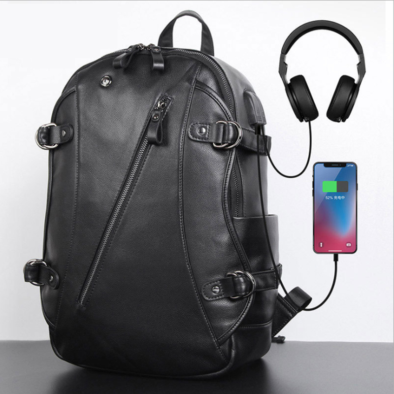 Luufan Genuine Leather Backpack With USB Connector Black Real Cowhide Laptop Bag 15 Inch Bagpack Outdoor Hiking Backpacks Black