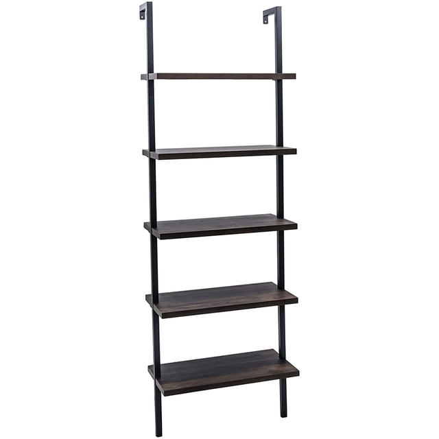 Bookshelf Bookcase 5-Tier Modern Ladder Shelf Multipurpose Storage Rack Industrial Metal Frame Sturdy Easy Install[US-Stock] 4