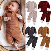 0-24M Newborn Infant Baby Boy Girl Clothing Set Solid Long Sleeve T shirt + Pants Outfits Autumn Spring Infant Baby Costumes