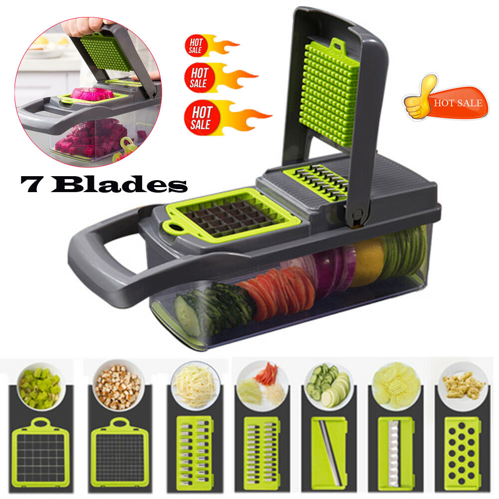 7 In1 Lebensmittel Gemüse Obst Schäler Cutter Slicer Dicer Chopper Mandoline Slicer Obst Cutter Karotte Reibe Gemüse Slicer