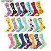MYORED 1 pair men socks cotton funny crew cartoon animal fruit dog women novelty gift socks