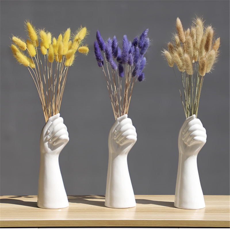 Hand-Vase Ornament Flowers Composition Office-Decor Ceramics Floral Living-Room Nordic-Style