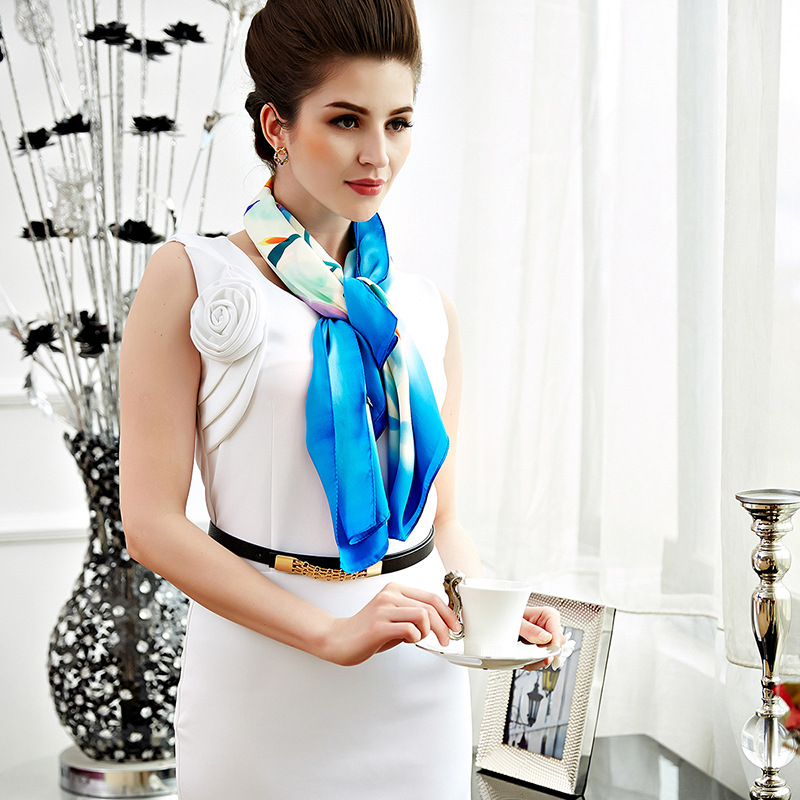 New Style Gift Scarf For Ladies Kao Huang Silk Heavy Weight Crepe Satin Mulberry Silk Scarf/shawl/scarf