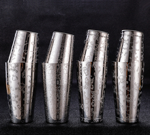 Boston Cocktail Shaker Met Geëtst Patroon Ongewogen Bar Cocktail Shaker Tin Set   800 Ml & 500 Ml