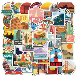 50PCS New Global Travel City Landscape Stickers Decal Vinyl for Stationery Scrapbooking PS4 Skateboard Laptop Guitar Sticker