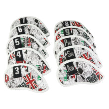 NRC 10PCS Golf Iron Headcover UK Flag Skull With Number Tags Thick PU Artificial Leather Iron Club Head Cover