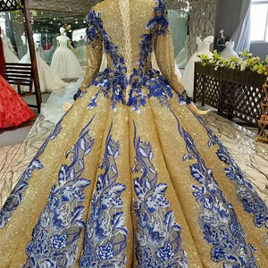 Image 2 - LS741100 shiny muslim women occasion dresses 2018 long sleeve o neck blue flowers golden ball gown evening dress fast shiping