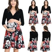 цены Summer  dress Breastfeeding dress pregnant women pajamas skirt women maternity Clothes new print V-neck maternity
