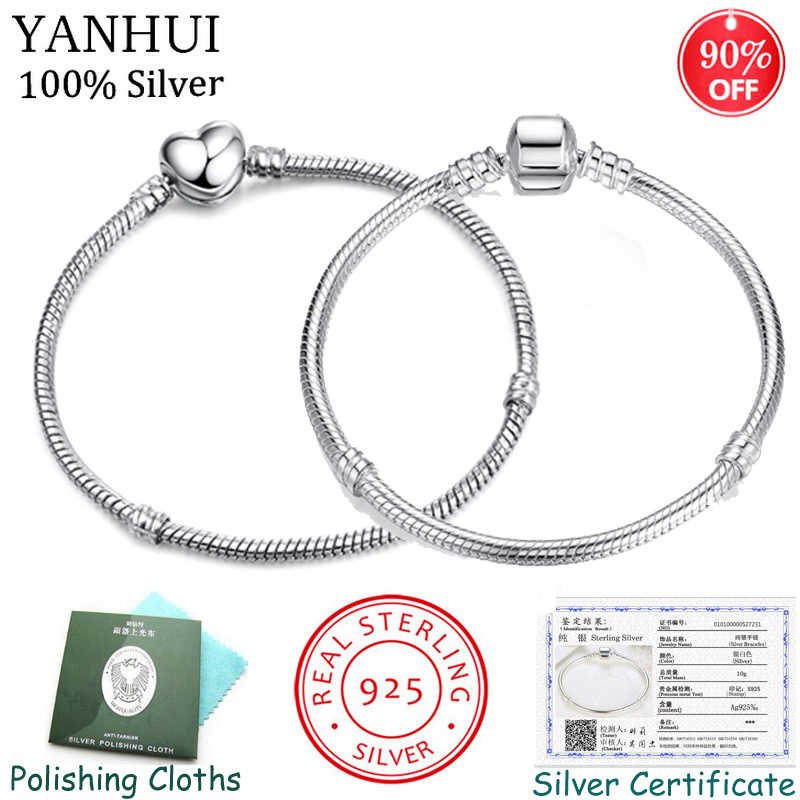 ¡90% de descuento! Pulsera de plata sólida Real tiene certificado como prueba joyería Original Cadena de hueso de serpiente básica DIY abalorios pulseras