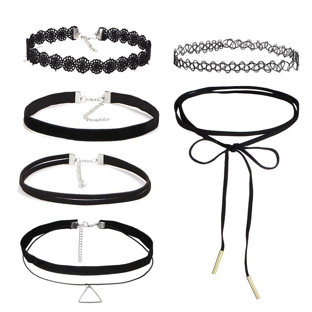 10Pcs/set zircon Gothic Punk Style Velvet Tattoo Lace Choker Long Black Choker Collar Necklace Pendant Jewelry Women Party gift(China)
