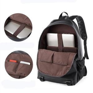 Image 5 - New Fashion Men Leather Backpacks Black School Bags for Teenagers Boys College Book Bag Laptop Backpacks mochila masculina