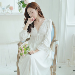 Image 5 - Autumn Vintage Nightgowns V neck Ladies Dresses Princess White Sexy Sleepwear Solid Lace Home Dress Comfortable Nightdress #H13