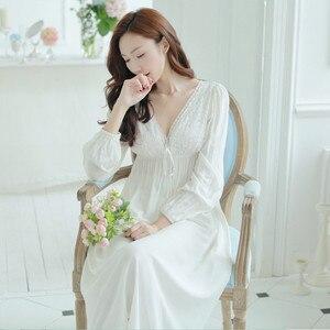 Image 5 - Herbst Vintage Nachthemden V ausschnitt Damen Kleider Prinzessin Weiß Sexy Nachtwäsche Feste Spitze Hause Kleid Nachthemd Komfortable # H13