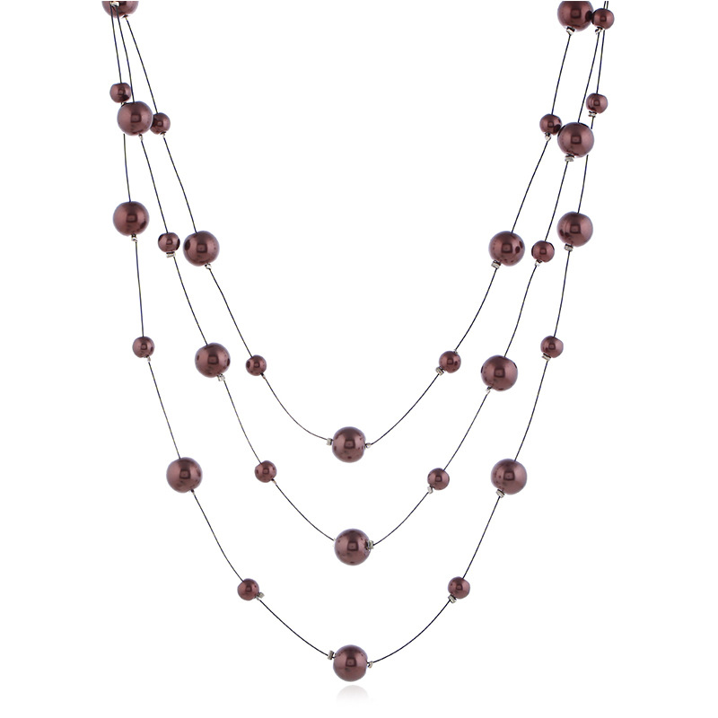 Hot Selling Popular Jewelry Fashion Pearl Necklace Beaded Bracelet Steel Wire Multilayer Short Choker Necklace Women's Accessori