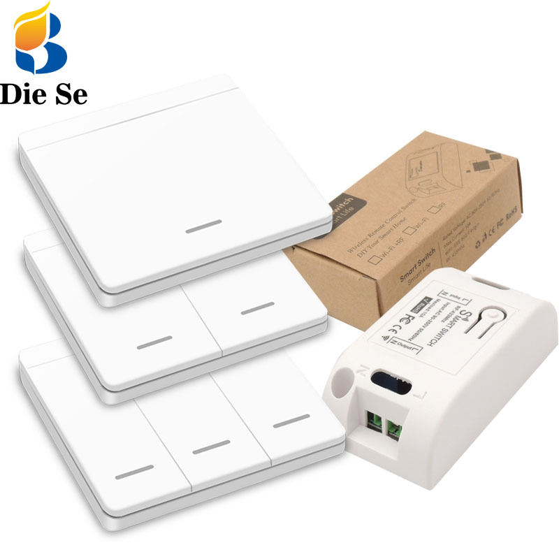Diese 433Mhz wireless Wall Switch rf 86 wall panel transmitter Safety Switch and AC 110V 220V relay interruptor for Light Lamp