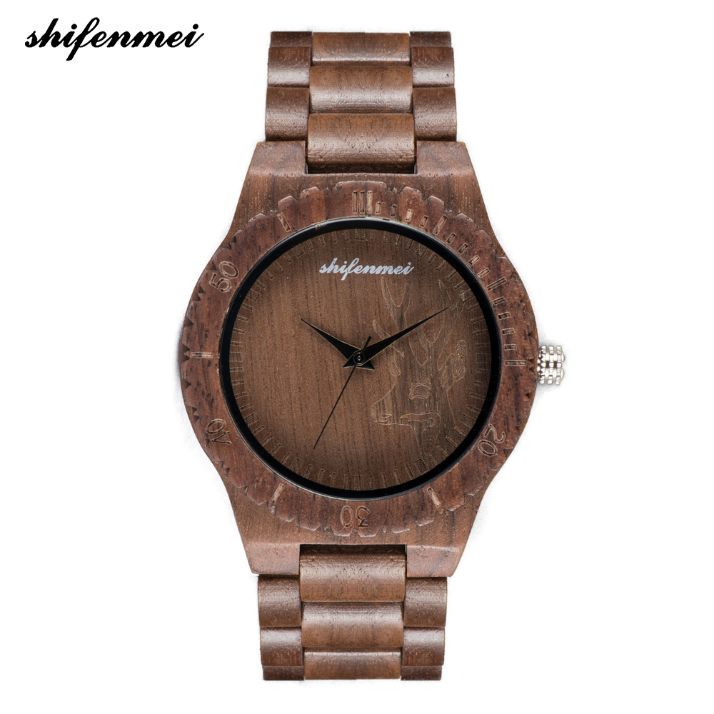 Shifenmei S5539 simple quartz female watch women Natural Wood Watches With Deer Head Engrave Dial With