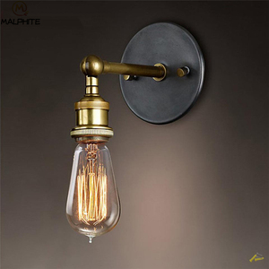 American Retro Sconce Wall Lamps Vintage Loft Lights E27 Bulb Plated Iron Retro Industrial Home deco Lighting fixtures luminaria(China)
