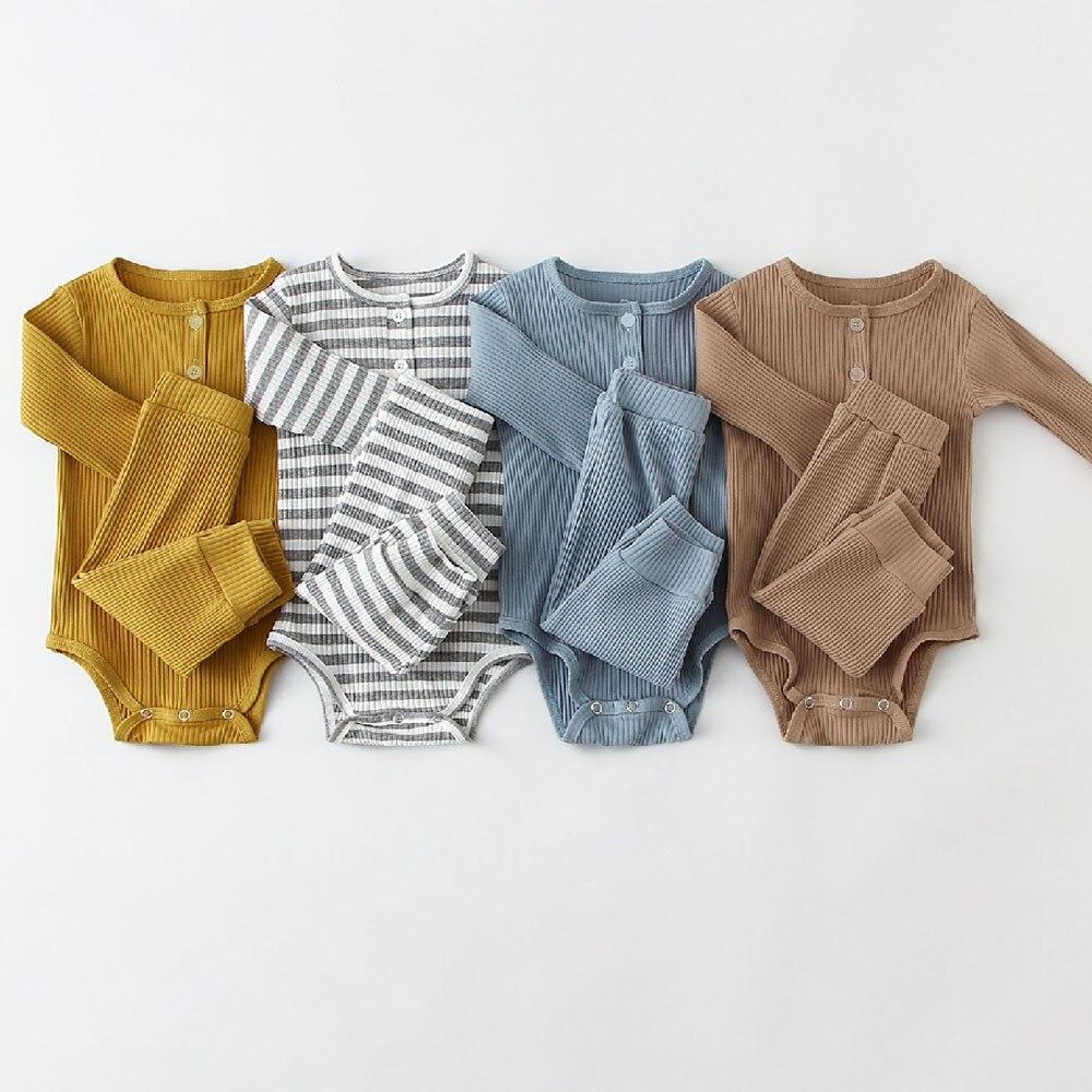 Nouveau-né Infantile Bébé Garçons Vêtements Ensemble Coton Rayé À Manches Longues Bébé Bodys et Décontracté Pantalon Enfant En Bas Âge Garçon Tenues Vêtements