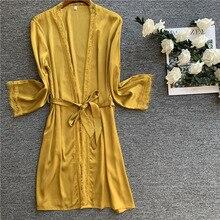 Кружевной сексуальный женский халат с поясом тонкий халат атласная пижама