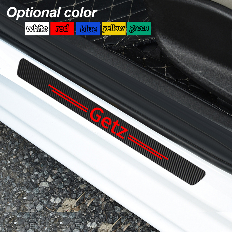 4pcs Car Styling Carbon Fiber Door Car Scuff Plate Waterproof Sticker Vinyl Decal For Hyundai Getz Emblem