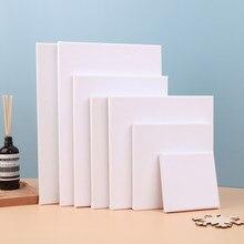 Toile d'artiste carrée blanche vierge, 7 tailles, pour peinture à l'huile, cadre de planche en bois
