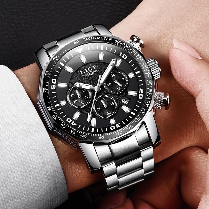 2020 LIGE Top Brand Luxury Mens Watches Full Steel Watch Male Military Sport Waterproof Watch Men Quartz Clock Relogio Masculino 5
