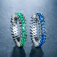 HUITAN Luxury Full Green Blue Cubic Zircon Stone Women Finger Ring Creative Gear Shaped Design Birthday New Years Gift For Girl