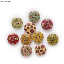 Clothing Handwork-Accessories Crafts Wood-Buttons Sewing Scrapbook Flower-Printing Round