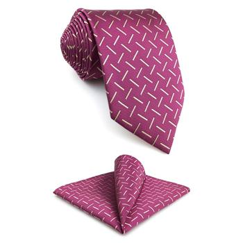 F17 Pink Abstract Mens Necktie Set Fashion 63 Groom Ties for male Wedding Hanky Party