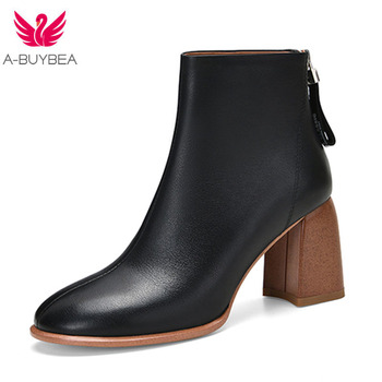 Leather Ankle Boots for Women Autumn Winter Back Zipper Ladies High Heels Shoes Solid Round Toe Woman Western Boots Shoes Women women ankle leather boots split toe round heels splited toe lady shoes woman high heels female boots ninja tabi boots
