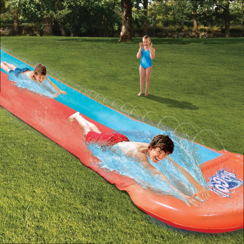 5.5m Giant Surf 'N Double Water Slide Lawn Water Slides For Children Summer Pool Kids Games Fun Toys Backyard Outdoor Wave Rider